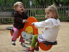Claire and Juliet playing in a Barcelona park