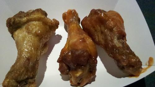 close up on wings. left to right: buffalo dry rub, medium, hot