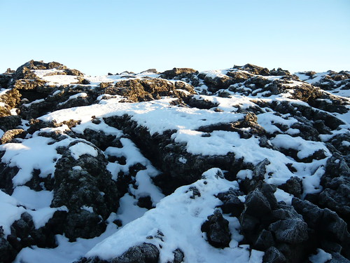 Volcanic rocks and snow in Iceland