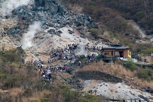 Vapores sulfurosos en Oowakudani