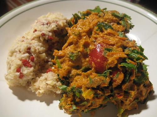 "Vegetable Masala with Goji ""Rice"""