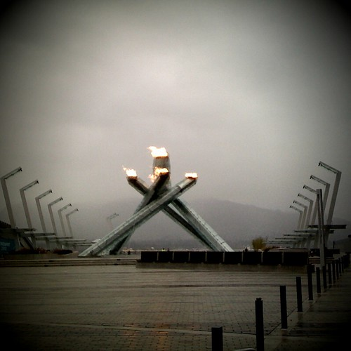 Morning after view of the Olympic fame on my am run to Stanley Park  #van2010 #tnmh