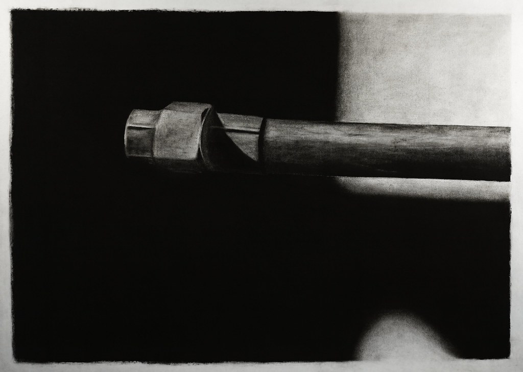 "untitled, (pipe, #1) 2010_03_04 charcoal on paper 30"" x 43 1/2"" by Matt Niebuhr"
