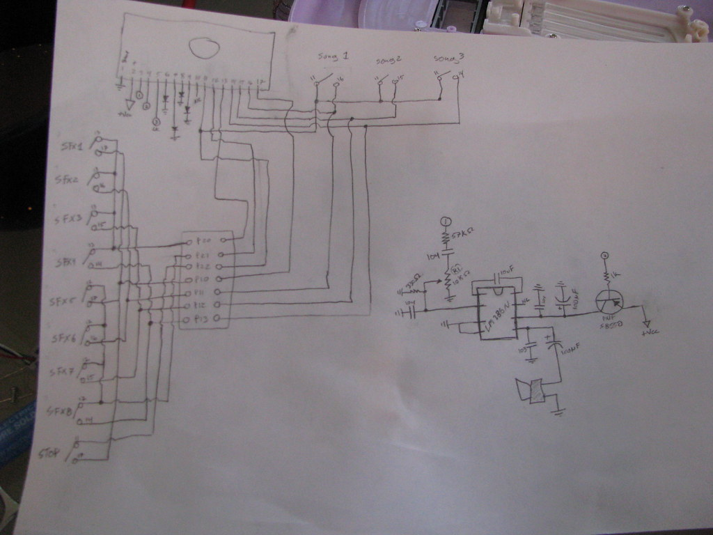 Hanna Montana Circuit bent guitar - schematic