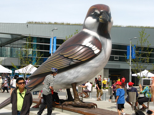 Gigantic sparrow at the Olympic Village