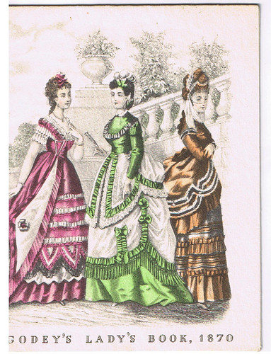 Three ladies in 19th century costume
