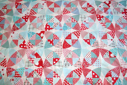 Aqua and Red Winding Ways Quilt Top