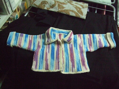 vertically striped baby jacket