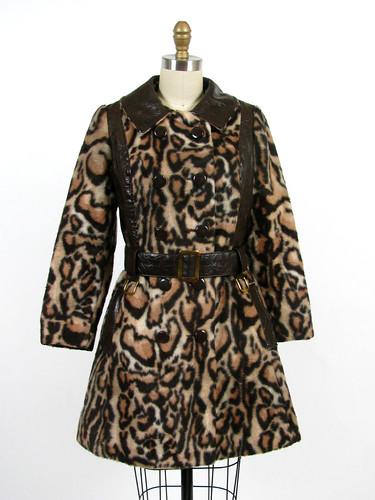 vintage 70s faux leopard princess coat