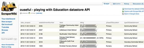 Scraperwiki data preview
