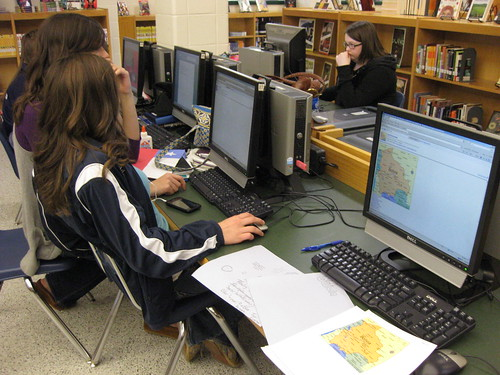 Students exploring a computer program.
