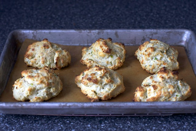 blue cheese scallion drop biscuits