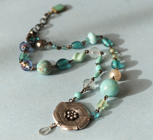 Teal or Turquoise? Jumble necklace