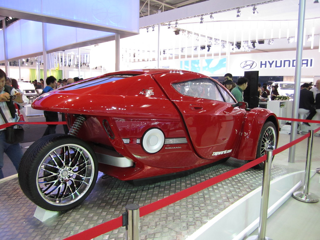 3-wheeled ZAP Alias Electric Car on Display in Jonway's Beijing Motor Show Booth