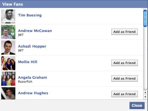 Facebook pitch list