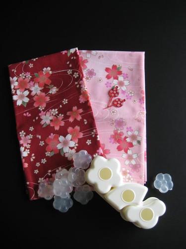 Sakura fabrics, ice cubes and onigiri mold