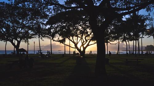 Sunset Silhouette Waikiki Beach