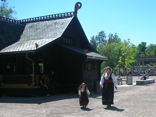 Bunad clad girls at the Folk Museum