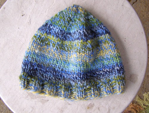 blue subtle stripes hat