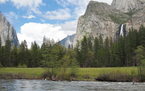 Yosemite Valley Floor River and Falls