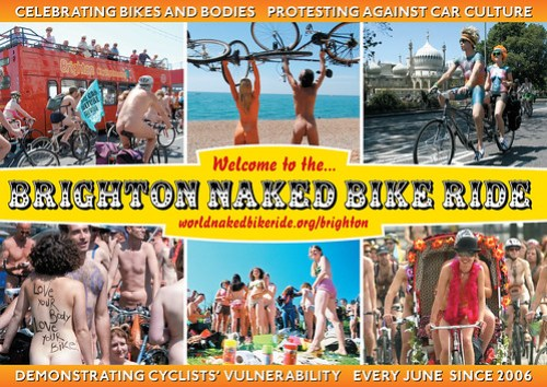 Brighton Naked Bike Ride seaside postcard