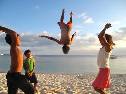 Malapascua Philippines beach acrobatics