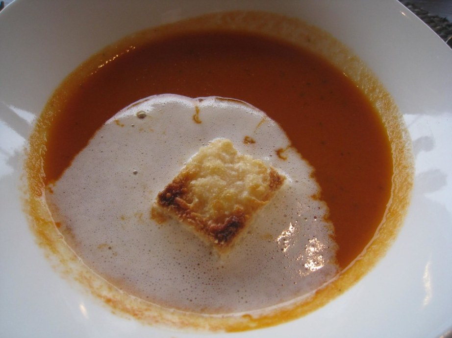 Warm tomato soup was a welcome treat on a cool and cloudy afternoon.