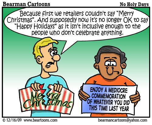 12 25 09 Bearman Cartoon Happy PC Holidays