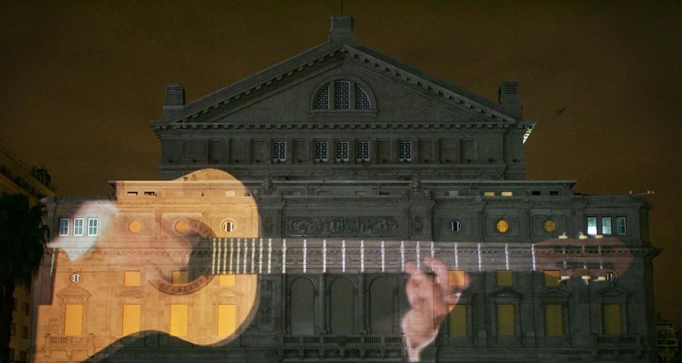 Teatro Colon laser projection 3D
