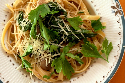 Fettuccine with Mustard Greens and Mushrooms