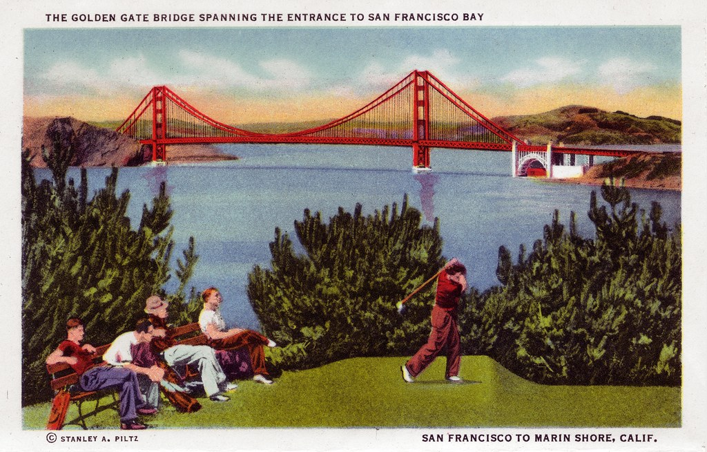 The Golden Gate Bridge Spanning The Entrance To San Francisco - By Curt Teich & Co. 1936