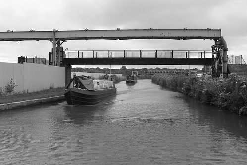 Passing boats on the canal (monochrome)