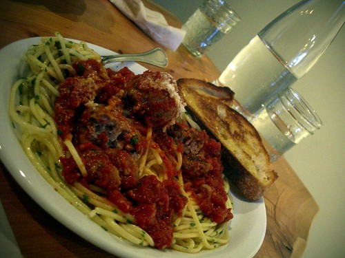 among the best I've ever had; spaghetti and meatballs at Heart Restaurant