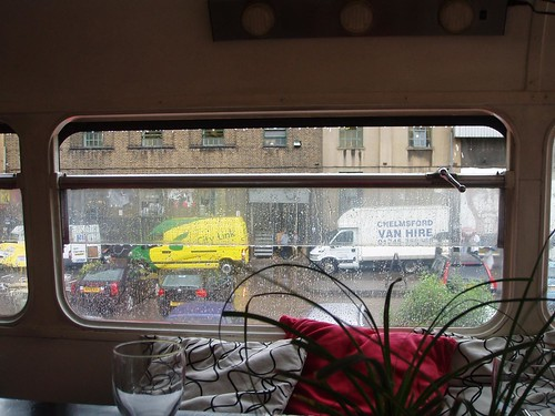 Rainy view from inside Rootmaster Bustaurant