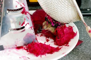 Shredded beet to colour the Icing