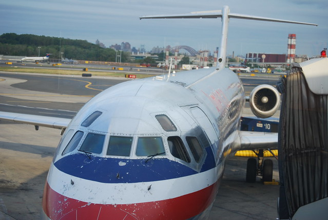 American Airlines MD-80 well worn paint on nose.