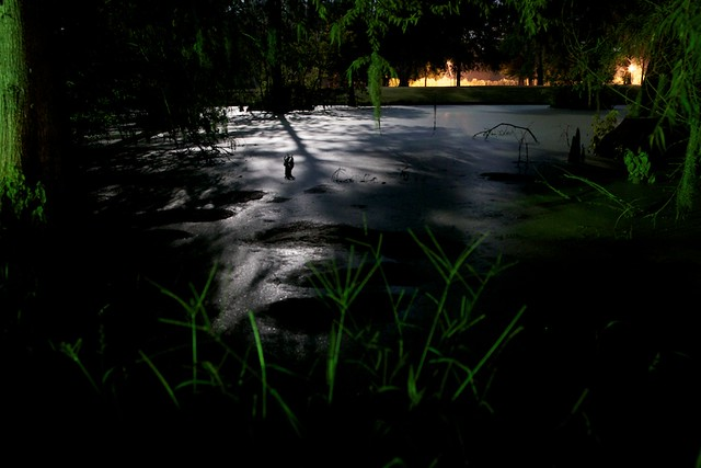 Night view of the pond at a Carencro campsite