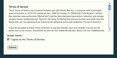 accepting a terms of service agreement on Terms Of Service id=54491