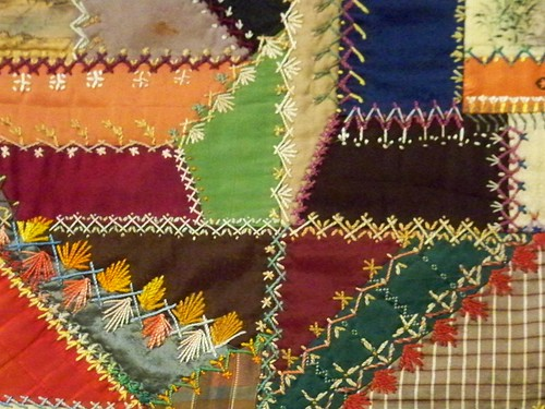 Elaborately embroidered crazy quilt detail