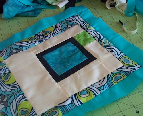 modern patchwork quilt block: wonky square in square