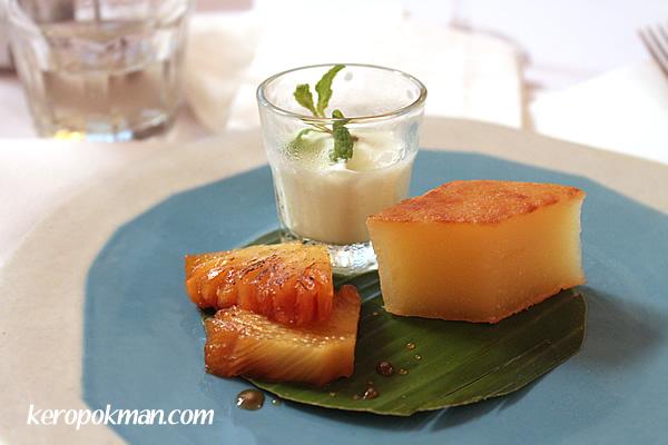 Caramelised grilled pineapple, Lemongrass gelato in shot glass, Baked Cassava Square