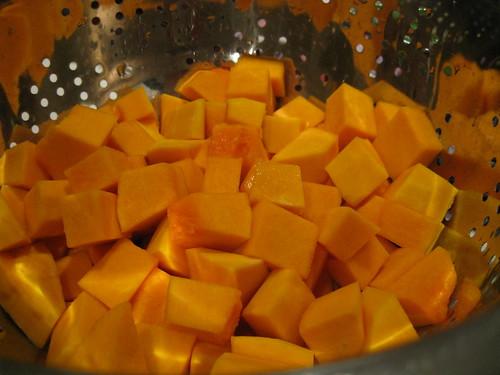 Peeled and chopped pumpkin