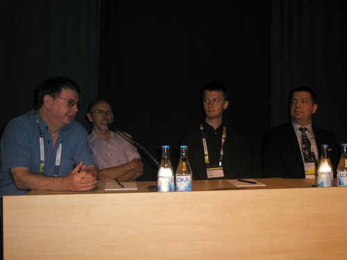 "GORDON DUNSIRE, RICHARD WALLIS, STEFFEN HENNICKE, JAN HANNEMANN at the Information Technology, Cataloguing, Classification and Indexing with Knowledge Management session ""Libraries and the semantic web"" at IFLA2010 in Gothenburg."