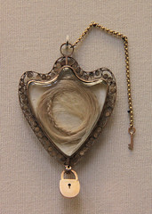 Gold locket with the  hair of Queen Marie Anto...