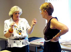 Nancy finished her One-Seam pants and is being evaluated by Louise for final fits. No problem, Nancy! It's perfect!