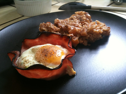 Nothing to say about the #worldcup, so you get a food pic instead: eggs in ham baskets with breakfast risotto.