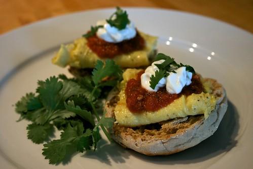 Open Faced Mexi-Breakfast Sandwich