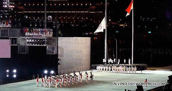 Raising of the Olympics flag