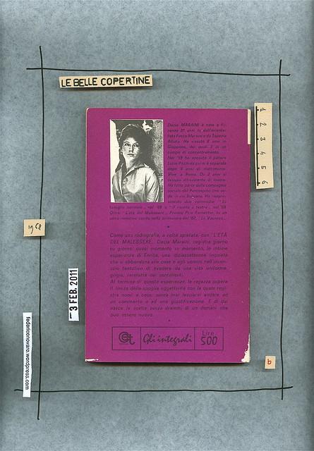 Dacia Maraini, L'età del malessere, C.E.T. Editrice 1968. Quarta di copertina