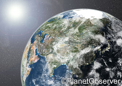 Globe showing Asia - Satellite image - PlanetO...